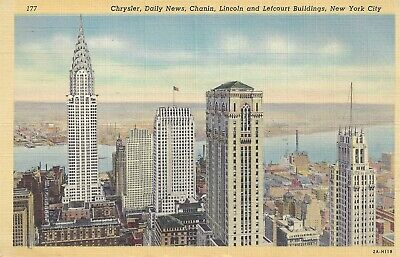 Postcard NY New York City NYC Chrysler Daily News Lincoln Skyline Unposted Linen