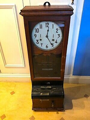 Original antique American IBM timepiece/ clocking machine and clock. C 1910.