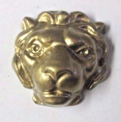 1 Vintage Lion Head Mantle Clock Repair Part Brass Colored Zinc Gilt Gold Tone