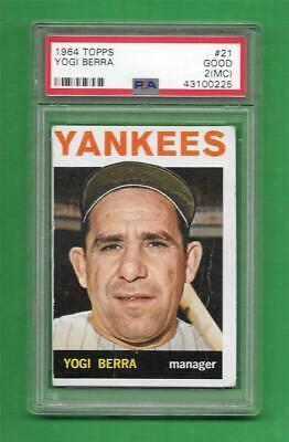 1964 Topps 21 Yogi Berra New York Yankees Baseball Card Hof 324