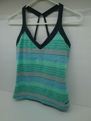 44d4fb7ac8 Women's NIKE Swim Tankini Lined Bathing Suit TOP Size SMALL Aqua/Blue  Stripes