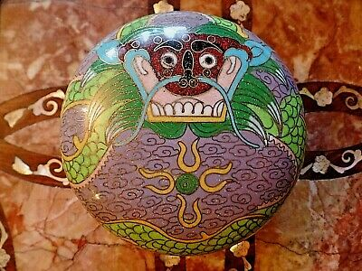 Antique Chinese Cloisonne Enamel Lidded Box with Dragon and Fireball