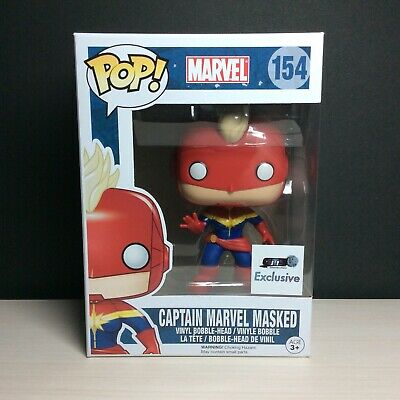 🔥Funko Pop Marvel CAPTAIN MARVEL Masked GTS Exclusive Free Protector Mint🔥