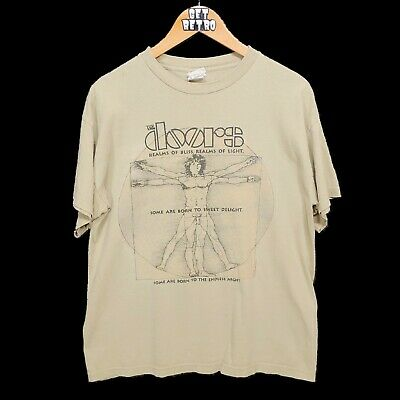 Vtg 1999 The Doors T Shirt Sz L Vitruvian Man Jim Morrison Tan Cronies