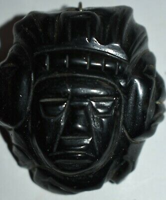 ORIG WOW! PRE COLUMBIAN MAYAN OBSIDIAN PENDANT, 3 heads 2in PROV