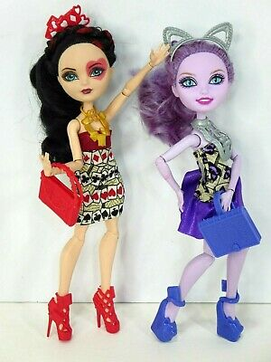 Ever After High Kitty Cheshire & Lizzie Hearts Book Party Dolls Lot of 2