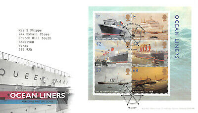 Ocean Liners First Day Cover - Mini Sheet Stamps GB 2004 Southampton FDC