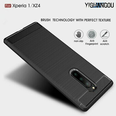 Fashion Luxury Carbon Fiber Soft Silicone Slim Phone Case Cover For Sony Xperia