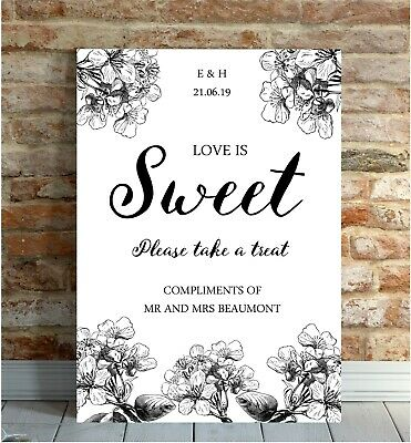 Personalised LOVE IS SWEET Wedding Sign Poster Botanical Blossom Vintage Rustic