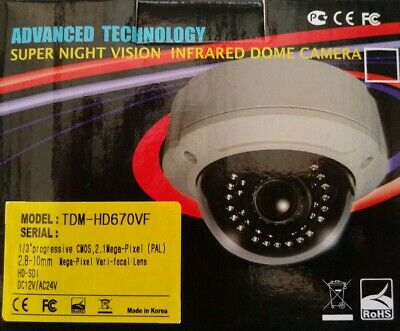 HD-SDI Dome Camera 2.1M, 2.8-12mm Auto Iris 12 Volts