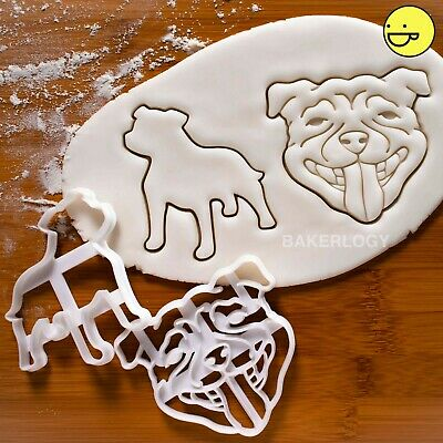 Set of 2 Staffordshire Bull Terrier Face cookie cutters | dog Staffy Staffie
