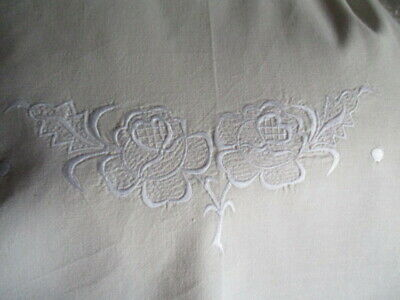 Vintage French Cotton Sheet Pretty Whitework Embroidery New/UNUSED Large Double