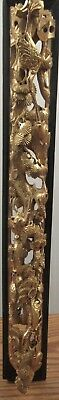 """Ornate antique Chinese deep gold wood carving scene cranes birds in a tree 23"""""""