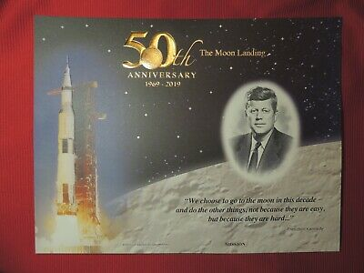 Apollo 11 50th Anniversary 2019 Engraved Print: Mission 1969-2019 BEP Kennedy