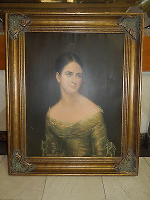 Circa 1890 Victorian Lady in Lace Hand Painted Portrait - Framed Oil on Canvas