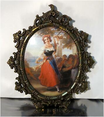 Vintage Ornate Wall Hanging Miniature Brass Picture Frame w/ Convex Glass, Italy