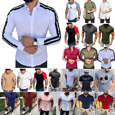 Mens Dress Shirt Long Short Sleeve Casual Summer Muscle Slim Fit T-shirt Top Tee