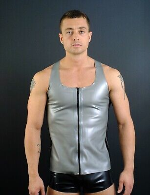 Latex rubber mens zip front vest Black/ silver XS - XXL other colours available