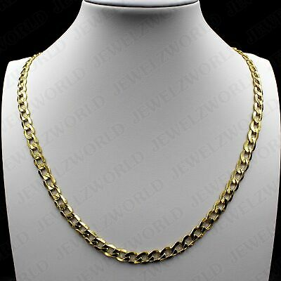 """10K Solid Yellow Gold 5.5mm 20"""" inch Mens Womens Cuban Curb Link Chain Necklace"""