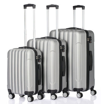 3 PCS Luggage Travel Bag ABS Trolley Large Storage Capacity Suitcase w/TSA lock