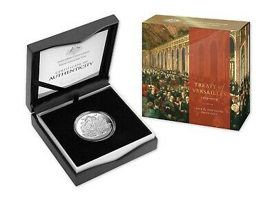 FREE POST - 2019 CENTENARY OF TREATY OF VERSAILLES $5 1oz FINE SILVER PROOF COIN