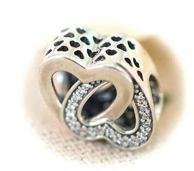 c189590a2 AUTHENTIC PANDORA SILVER CHARM BEAD 💋 791880CZ Entwined Love HEARTS NEW