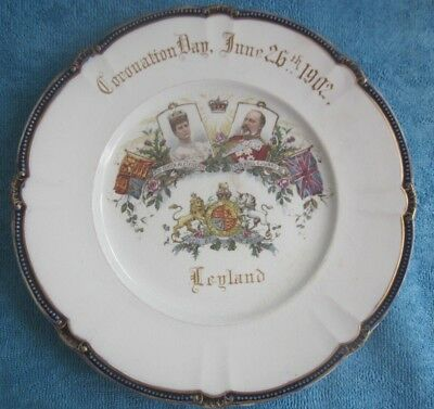 antique 1902 EDWARD VII CORONATION PLATE John Stanning Preston Leyland Bleachers