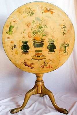 Antique Georgian Tilt Top Tea Side Table Hand Painted Floral Asian Chinoiserie