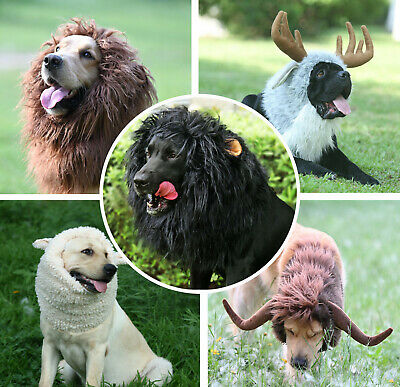 474c5700b Lion Mane Wig for Dogs with Ears, Funny Pet Costumes for Halloween Christmas