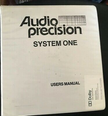 Audio Precision System One Users Manual Manual Only No Machine.
