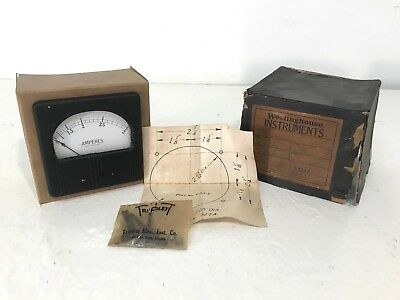 Vintage old stock in box Westinghouse NY Ammeter 0-3 Amperes