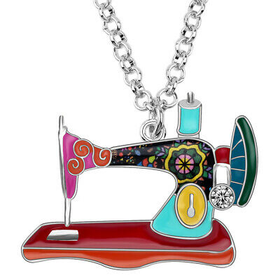 Enamel Alloy Crystal Sewing Machine Necklace Pendant Jewelry For Women Girl Gift