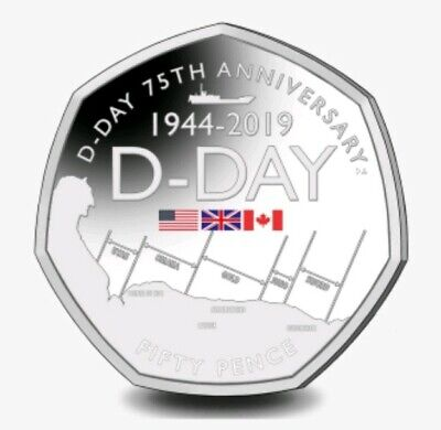 NEW  50p 🇬🇮Gibraltar🇬🇮 75th D-Day 2019 UNC Coloured Fifty Pence COIN