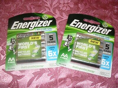 2 x 4PK ENERGIZER RECHARGEABLE 1.2V AA HR6 2300MAH RECHARGE EXTREME BATTERIES