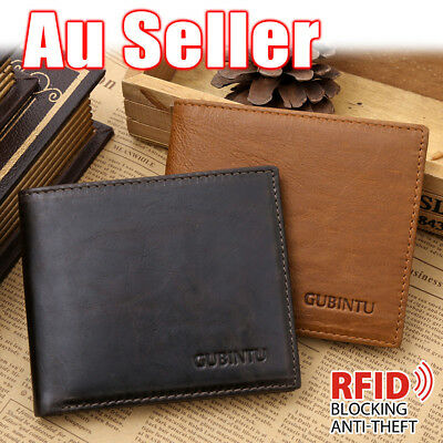 New Genuine Leather Mens Clip Wallet Coin Purse Card RFID Blocking Anti Scan