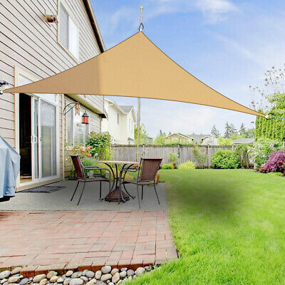2m Triangle Sun Shade Sail Cover Outdoor Patio Awning Canopy 98% UV Block Sand