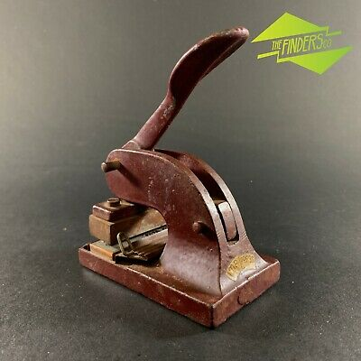 """Vintage Cast Iron """"Imp-Press"""" Embossing Stamp 'Tower View Higher Odcombe Yeovil"""""""