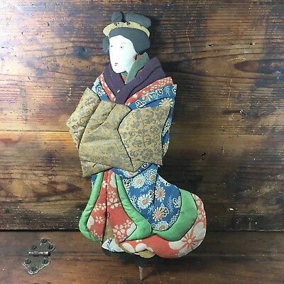 Authentic Meiji Period Japanese Oshi-E Ningyo Doll Geisha Silk Japan Puppet #12