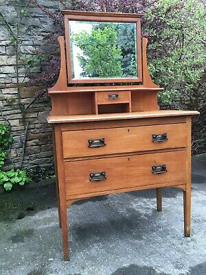 Arts & Crafts Influenced Golden Oak Dressing Chest Mirror Early 20th Century