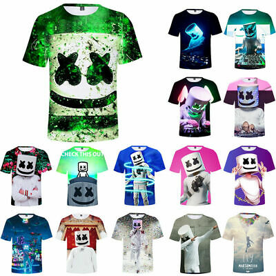 Marshmello T-shirt DJ Mask Music Short Sleeve T Shirt 3D Printing Tops Tee party