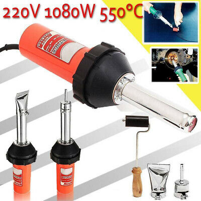 1080W Plastic Hot Air Welding Tool Welder Torch + 2x Nozzles + Roller + Adapter