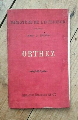 1893 Map Of Orthez. 1/100,000. Antique French Folding Pocket Map.