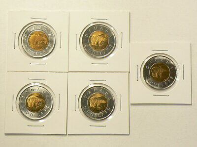 1996 Canada $2 Dollars Toonies Lot of 5 Uncirculated Coins from Roll  #3269