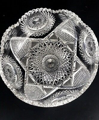 """ABP American Brilliant Deep Cut Glass 9.25"""" Large Scalloped Bowl Heavy STUNNING"""