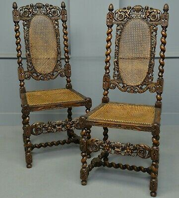 Carolean Revival Pair Of Carved Oak Side Hall Chairs