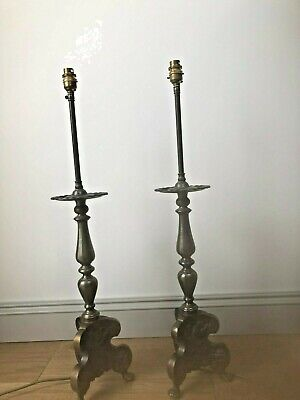 Pair of Art Nouveau Antique Solid Brass/Bronze Lamps