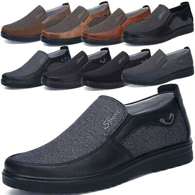 Men's Summer Leather Casual Slip On Shoes Breathable Antiskid Loafers Moccasins