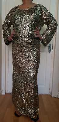 African ladies black & gold sequence buba & iro lace UK 18