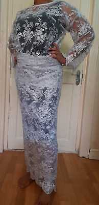 African ladies Sliver Colour Buba & iro Lace  UK size 18