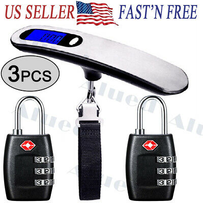 2x TSA Approve Travel Suitcase Lock Padlock Digital Hanging Luggage Scale Weight